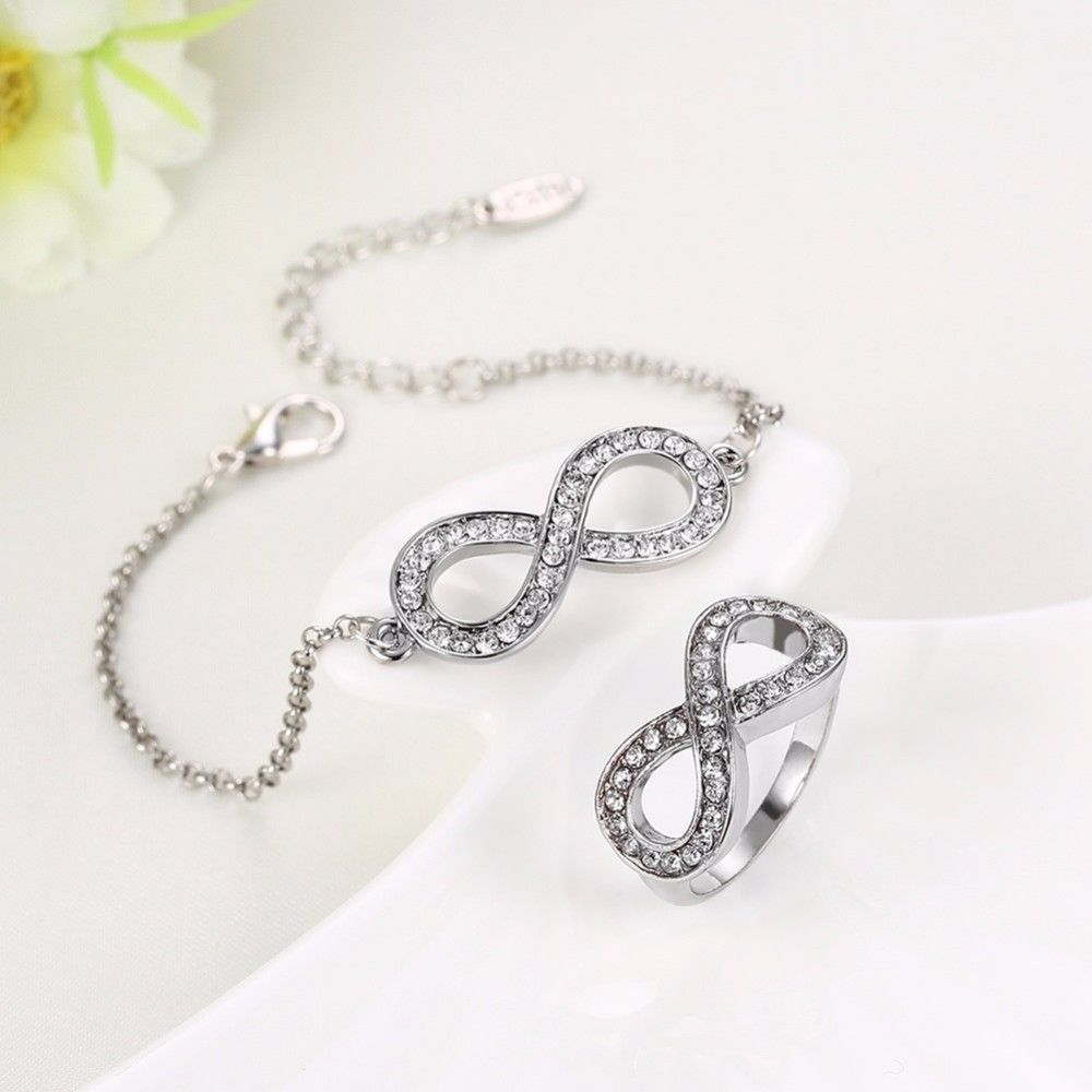 Wedding Charm Bracelet: Rose Gold Infinity Bracelet Set Wedding Gift Set Eternity