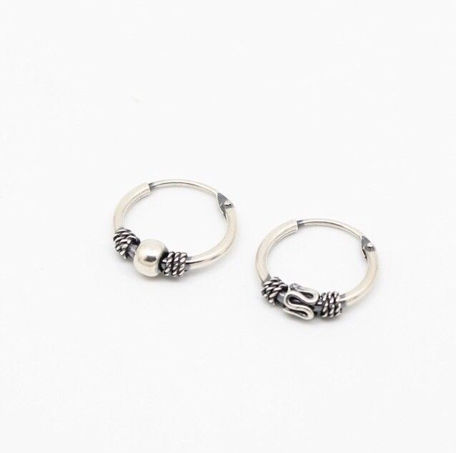 925 Sterling Silver Ball Bali Earring 12 Mm For Men C S