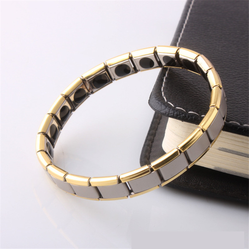 Gold And Silver Bracelets: Silver And Gold Titanium Steel Magnetic Bracelet For Women