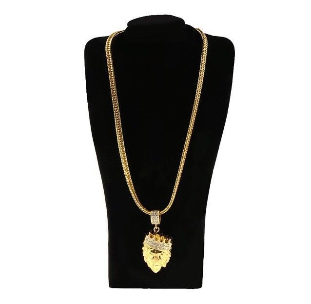 Brand New 18k Gold Plated Hip Hop Iced Out Bling Gold King